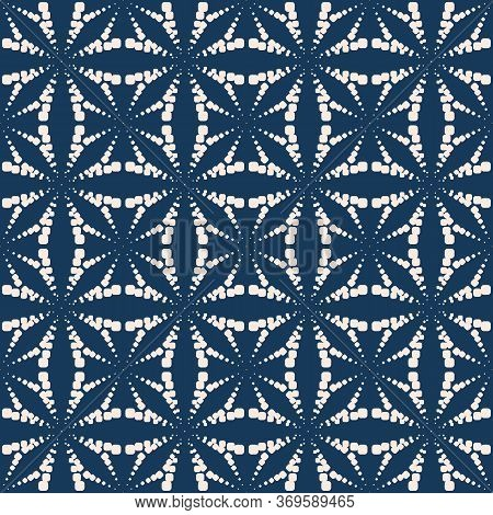Vector Geometric Dotted Seamless Pattern. Simple Minimal Texture With Halftone Dots, Crosses, Floral