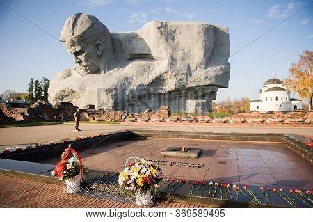 Brest, Belarus-05.11.2019: Monument To Courage In The Brest Fortress, Brest, Belarus, Eternal Flame.