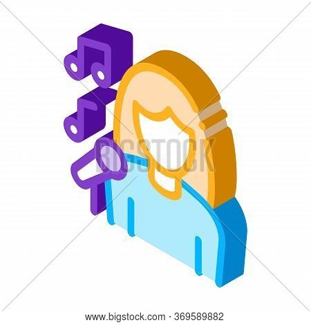 Female Singer With Microphone Sing Recital Vector Isometric Sign. Color Isolated Symbol Illustration
