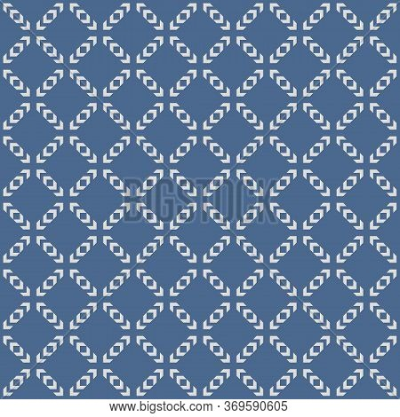 Vector Geometric Seamless Pattern. Abstract Texture With Squares, Grid, Lattice, Net. Blue And Gray