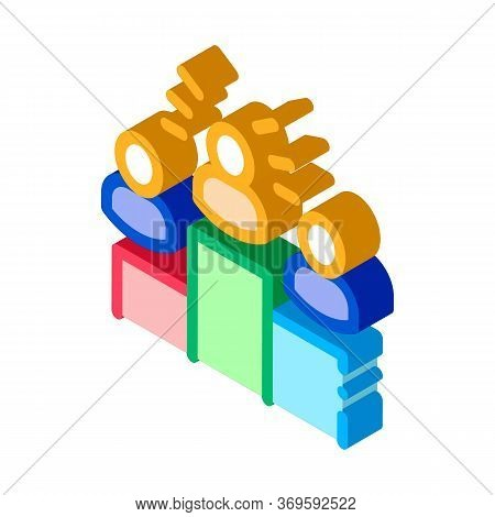 Winners Podium Human Talent Icon Vector Isometric Sign. Color Isolated Symbol Illustration