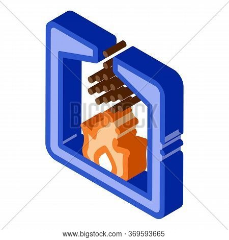 Factory Combustion Process Metallurgical Icon Vector Isometric Sign. Color Isolated Symbol Illustrat