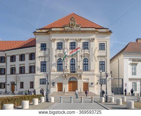 Budapest, Hungary - Feb 9, 2020: Court Theatre Of Buda Besides Sandor Palace On Buda Hill