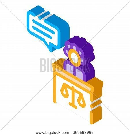 Female Witness Law And Judgement Icon Vector Isometric Sign. Color Isolated Symbol Illustration