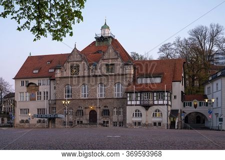 Panoramic Image Of The Townhall Of Bergisch Gladbach At Sunrise, Germany