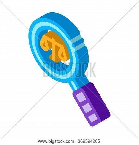Court Magnifier Law And Judgement Icon Vector Isometric Sign. Color Isolated Symbol Illustration