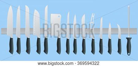 Knives Butcher Meat Knife Set. Cleaver, Filleting, French, Boning, Carving. Kitchen Drawknife Or Cle