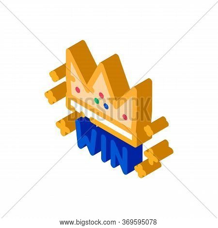 Winner Crown Betting And Gambling Icon Vector Isometric Sign. Color Isolated Symbol Illustration