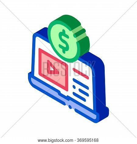 Laptop With Player Betting And Gambling Icon Vector Isometric Sign. Color Isolated Symbol Illustrati