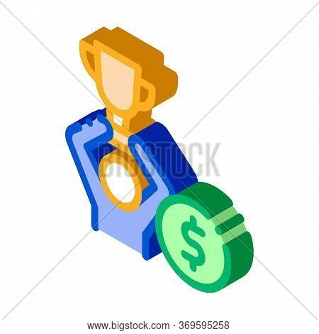 Man Win Prize Betting And Gambling Icon Vector Isometric Sign. Color Isolated Symbol Illustration