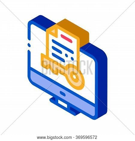 Secret Documents In Computer Icon Vector. Isometric Secret Documents In Computer Sign. Color Isolate