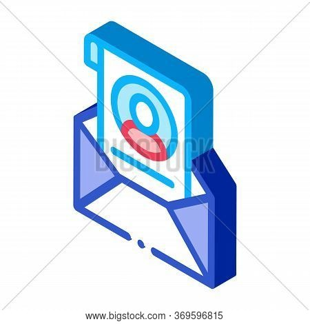 Envelope With Voter Information Sheet Icon Vector. Isometric Envelope With Voter Information Sheet S