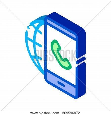 Voip Smartphone Internet Connection Icon Vector. Isometric Voip Smartphone Internet Connection Sign.
