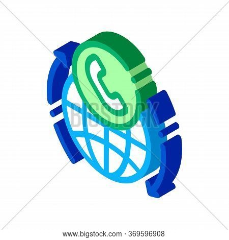 Online Telecommunications Icon Vector. Isometric Online Telecommunications Sign. Color Isolated Symb
