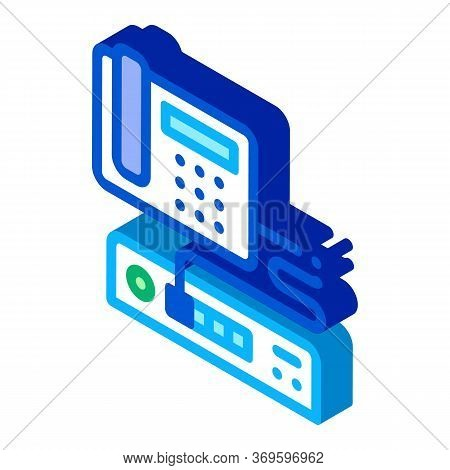 Home Telephone And Video Recorder Connection Icon Vector. Isometric Home Telephone And Video Recorde