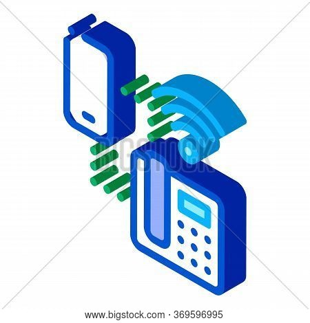 Smartphone And Home Telephone Wi-fi Connection Icon Vector. Isometric Smartphone And Home Telephone