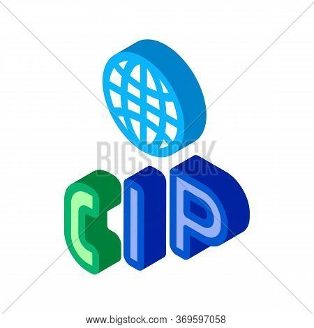 Voip Ip Calling System Icon Vector. Isometric Voip Ip Calling System Sign. Color Isolated Symbol Ill