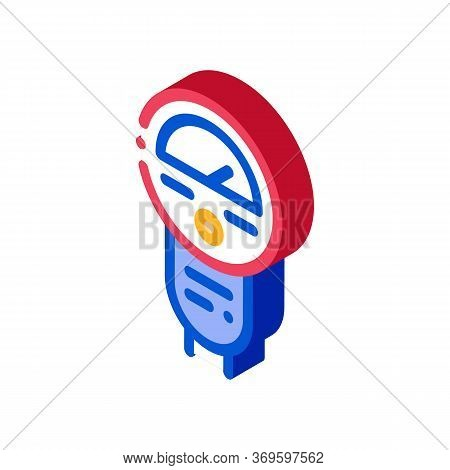 Parking Meter Icon Vector. Isometric Parking Meter Sign. Color Isolated Symbol Illustration
