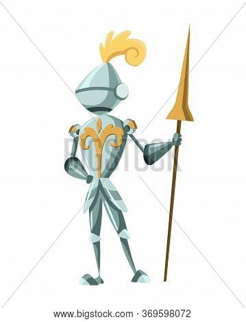 Medieval Kingdom Character. Isolated Knight In Historical Costume On A White Background. Vector Pers