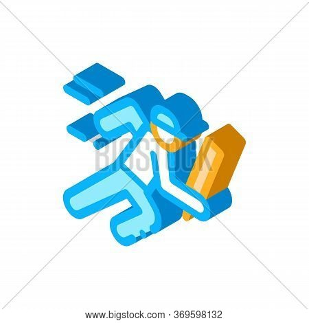Running Athlete Icon Vector. Isometric Running Athlete Sign. Color Isolated Symbol Illustration