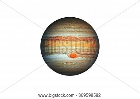 Planet Jupiter Gas Giant In The Starry Sky Of Solar System In Space. This Image Elements Furnished B