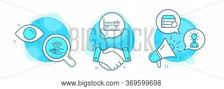 Recovery Server, Consolidation And Column Diagram Line Icons Set. Handshake Deal, Research And Promo