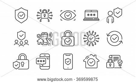 Security Line Icons Set. Cyber Lock, Unlock, Password. Guard, Shield, Home Security System Icons. Ey