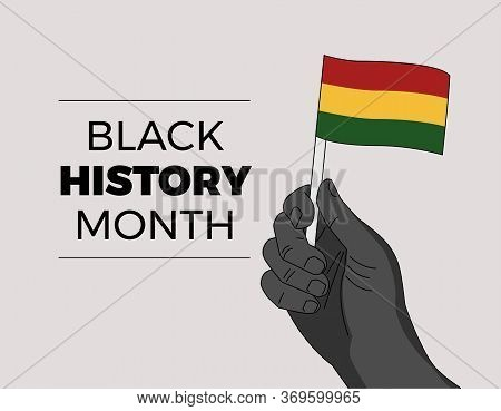 Black History Month - African Independence Leader Hand Waiving A Flag - Hand Drawn Vector Illustrati