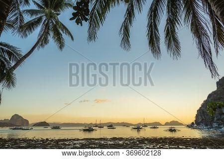 Sunset At Corong Corong Beach. El Nido, Philippines