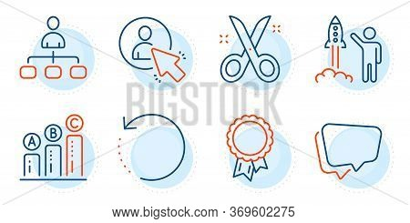Scissors, Speech Bubble And Graph Chart Signs. User, Management And Launch Project Line Icons Set. R