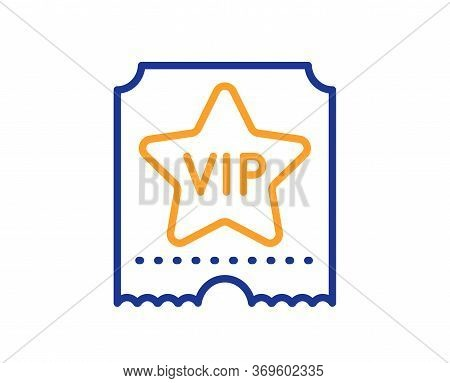 Vip Ticket Line Icon. Very Important Person Sign. Member Club Privilege Symbol. Colorful Thin Line O
