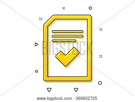 Information File With Check Sign. Checked Document Icon. Correct Paper Page Concept Symbol. Yellow C