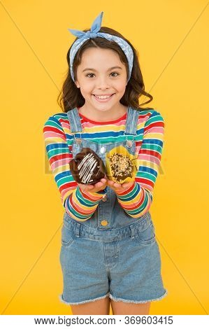 Muffins Are Ready. Cheerful Carefree Childhood. Retro Girl Hold Easter Cake. Cute Little Girl With T