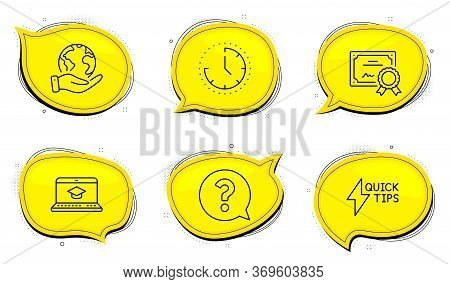 Quickstart Guide Sign. Diploma Certificate, Save Planet Chat Bubbles. Time, Question Mark And Websit