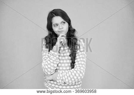 Why So Serious. Little Child With Serious Look. Serious Girl Blue Background. Beauty And Fashion. Se