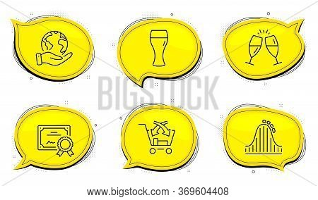 Champagne Glasses Sign. Diploma Certificate, Save Planet Chat Bubbles. Cross Sell, Beer Glass And Ro
