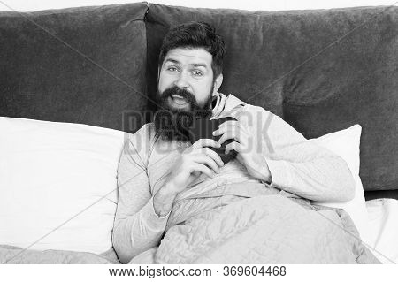 Lonely In Bed. Bearded Hipster Need Some Love. Lack Of Love. Vacant Place. Man Relaxing In Bed Alone