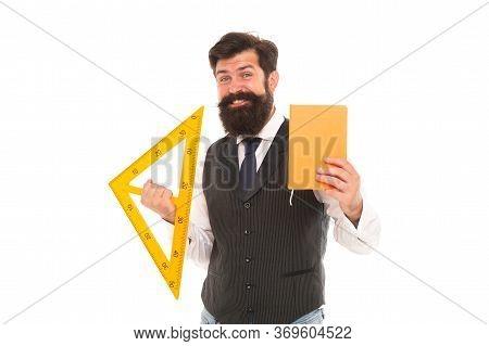 Expand Skills And Knowledge. Measurement Tool. Teacher Bearded Man. Teaching Geometry. Bearded Man U