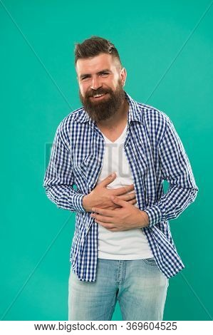 Laughing All The Day. Carefree Natural Emotion. Caucasian Man Isolated On Blue Background Laughing H