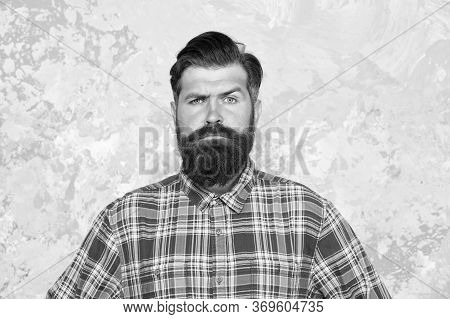 Masculine Traits. Brutal Bearded Man Concrete Background. Serious Man With Beard And Moustache. Conf
