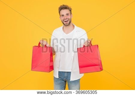 If I Want I Will Get. Bachelors Day. Consumerism Concept. Cheerful Client Customer Consumer Smiling