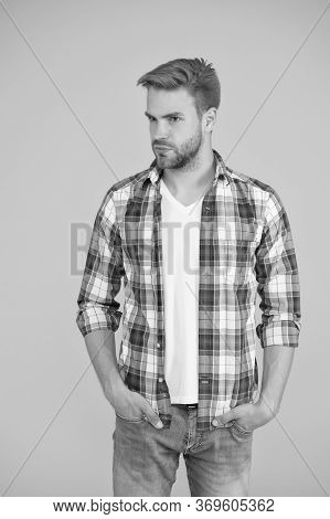Handsome Macho. Casual Fashion For Men. Masculine Outfits And Look. Stylish Male In Fashionable Clot