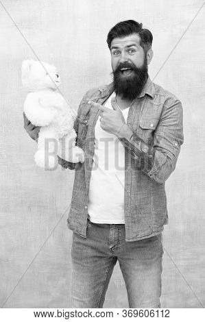 Look At This. Man With Beard On Happy Face. Happy Birthday Party. Toy Shop Concept. Brutal Hipster H