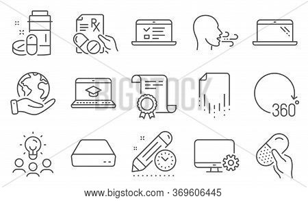 Set Of Science Icons, Such As Prescription Drugs, Website Education. Diploma, Ideas, Save Planet. Mo