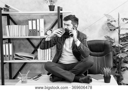 Agile Business. Business Negotiations At Coffee Break. Sharing Good News. Telephone Conversation. Re