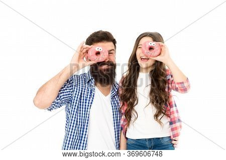 Doughnuts Make People Happy. Happy Family Have Fun Isolated On White. Happy Father And Daughter Eat