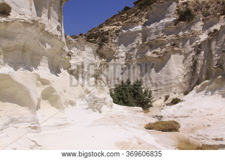 Shaped Volcanic White Rocks At Sarakiniko Beach In North Of Milos Island, Cyclades, Greece. Milos Is