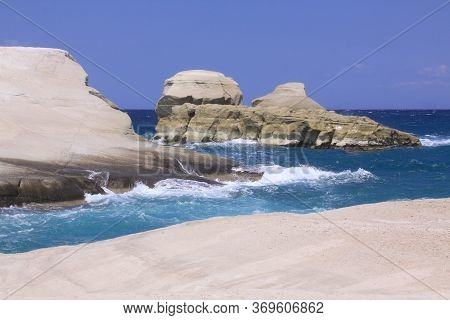 Sarakiniko Beach In North Of Milos Island, Cyclades, Greece. Milos Is One Of The Southern Cyclades I