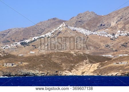Milos Village On Top Of Mountain, Cyclades Islands, Greece. Milos Is One Of The Southern Cyclades Is