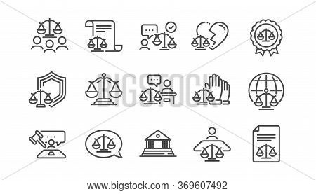 Court Line Icons Set. Lawyer, Scales Of Justice And Judge. Hammer, Law And Petition Document Set Ico